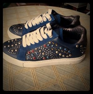 Zadig & Voltaire studded blue leather sneakers